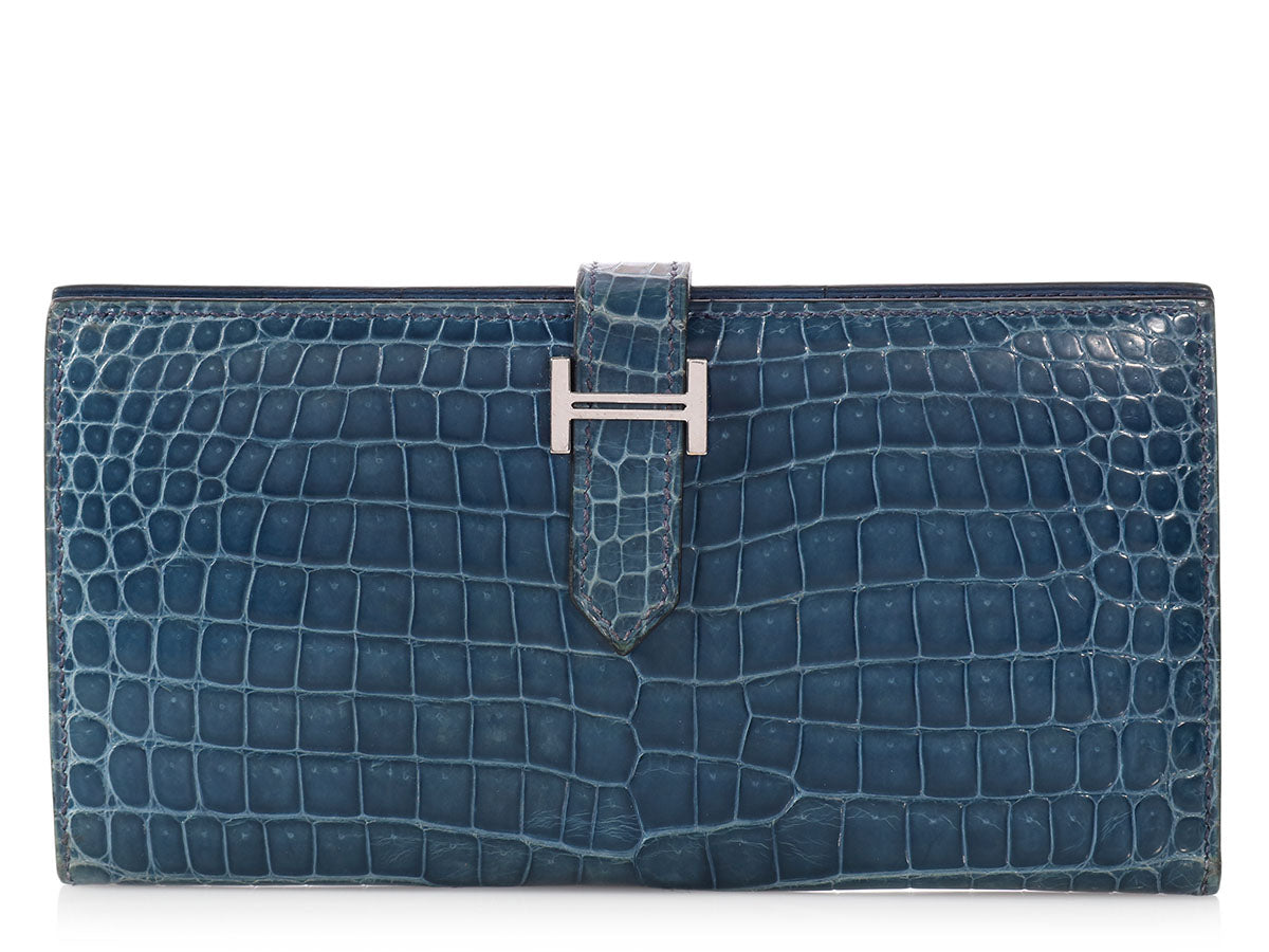 Hermès Blue Brighton Crocodile Béarn Wallet