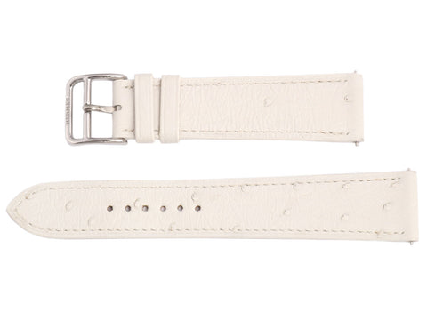 Hermès White Ostrich H Hour MM Watch Strap