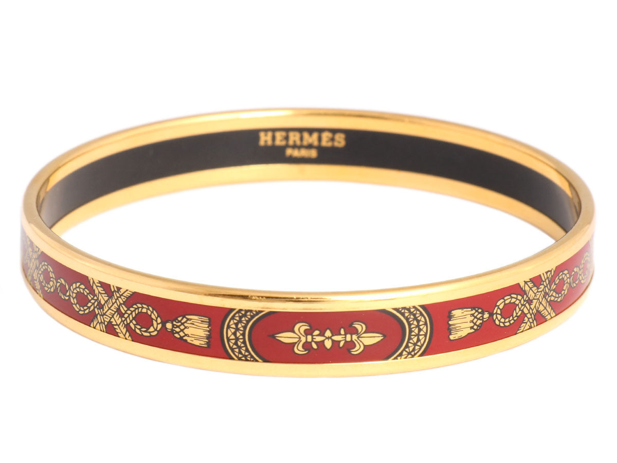 Hermès Narrow Fleur-de-Lis Enamel Bangle