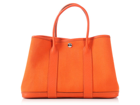 Hermès Orange Canvas Garden Party 30