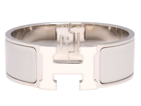 Hermès Wide Gray and White Clic-Clac Bracelet