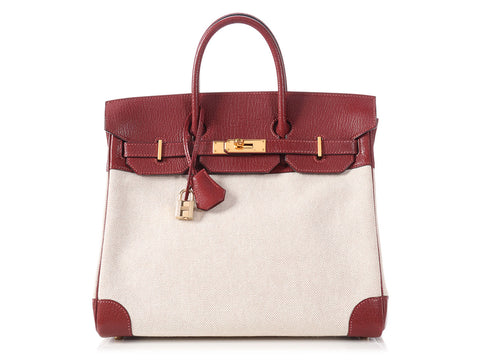 Hermès Rouge H and Toile Birkin HAC 32