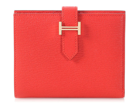 Hermès Medium Rouge Tomate Béarn Wallet