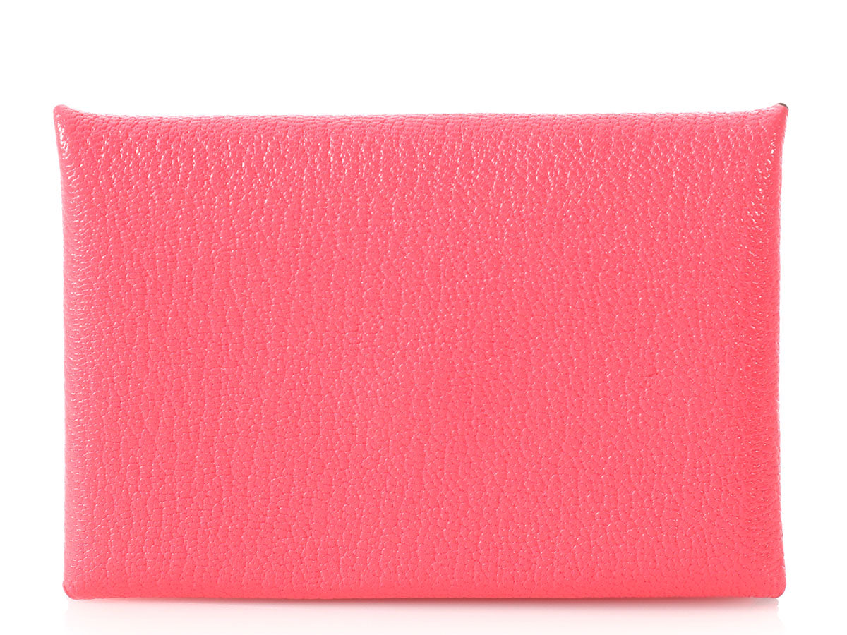 Hermès Rose Lipstick Calvi Card Case