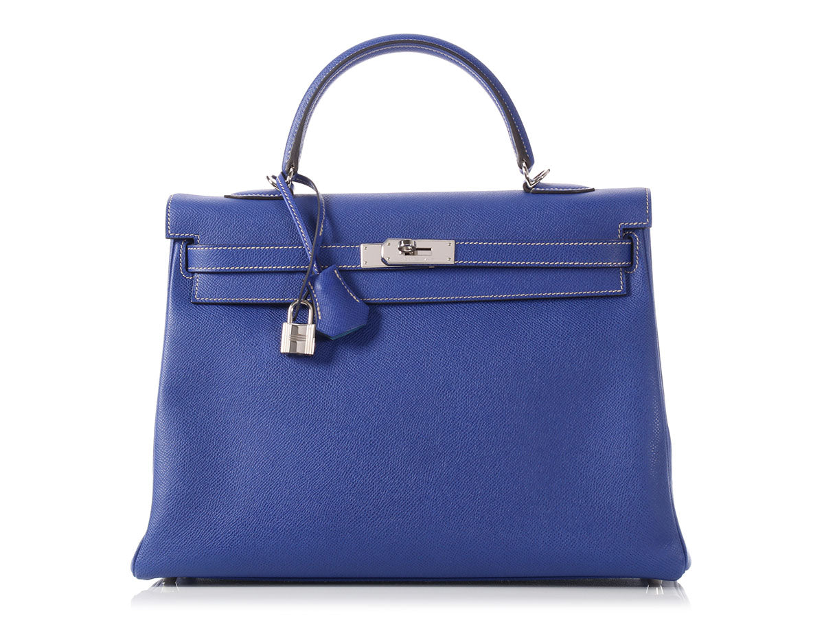 Hermès Electric Blue/Thalassa Blue Verso Kelly 35