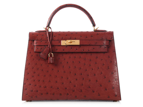 Hermès Reddish-Brown Ostrich Kelly 32