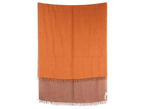 Hermès Burnt Sienna and Brown Two-Tone Stole