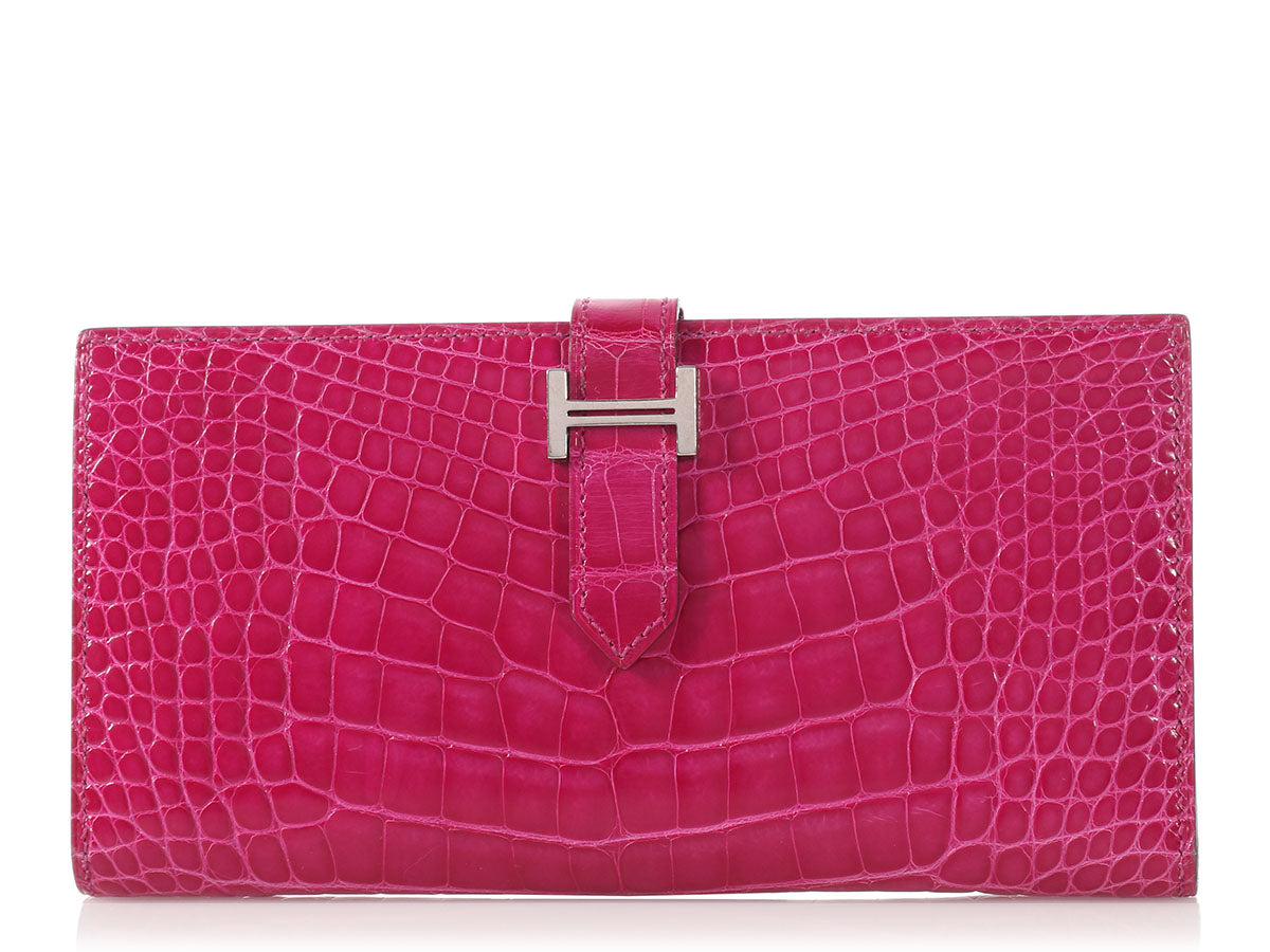 Hermès Rose Scheherazade Alligator Béarn Wallet