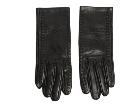 Hermès Black Lambskin H Gloves
