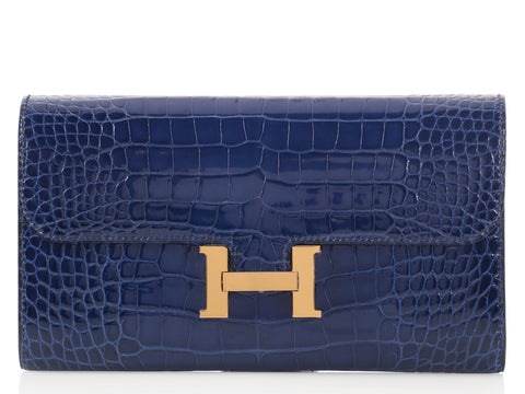 Hermès Large Bleu Safir Alligator Constance Wallet