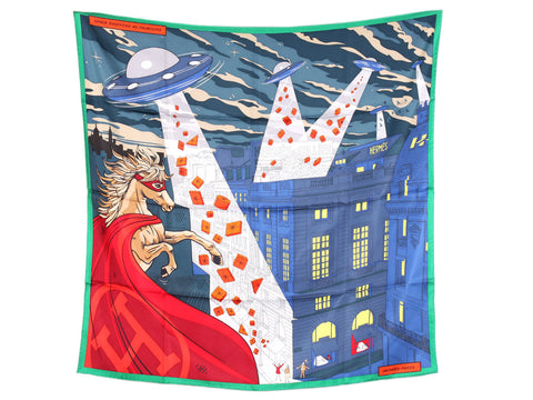 Hermès Space Shopping au Faubourg Scarf 90cm