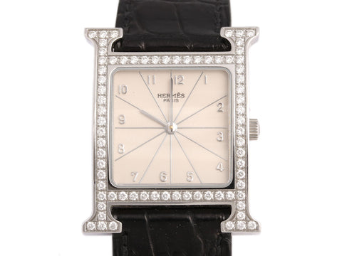Hermès Medium Diamond and Black Alligator Heure H Watch