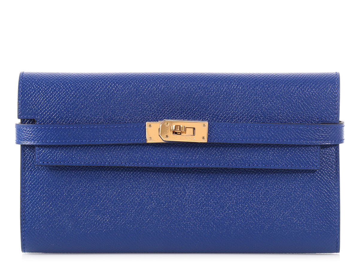 Hermès Blue Electric Kelly Wallet