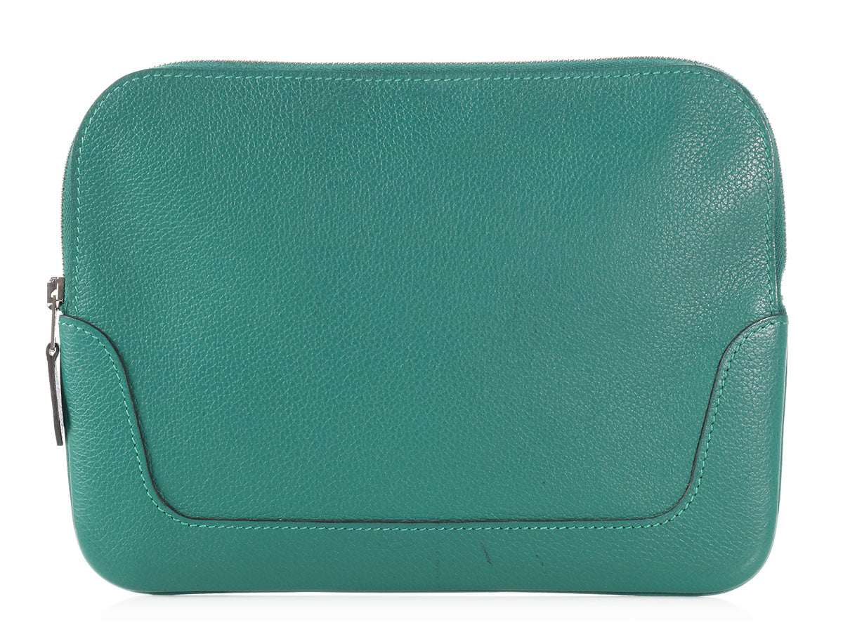 Hermès Two-Tone Malachite and Blue Calfskin Trimset Pouch