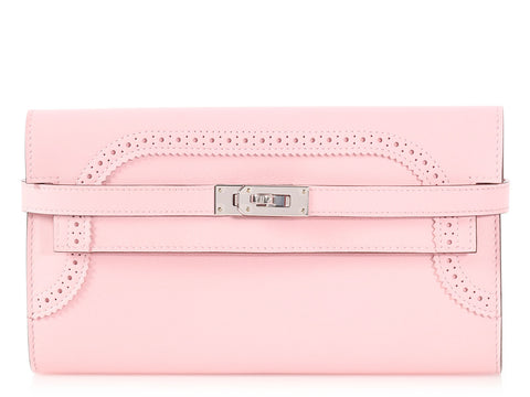 Hermès Rose Sakura Swift Ghillies Kelly Longue Wallet