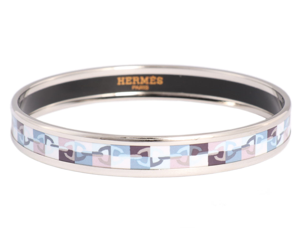 Hermès Narrow Enamel Optique Chaine d'Ancre Bangle