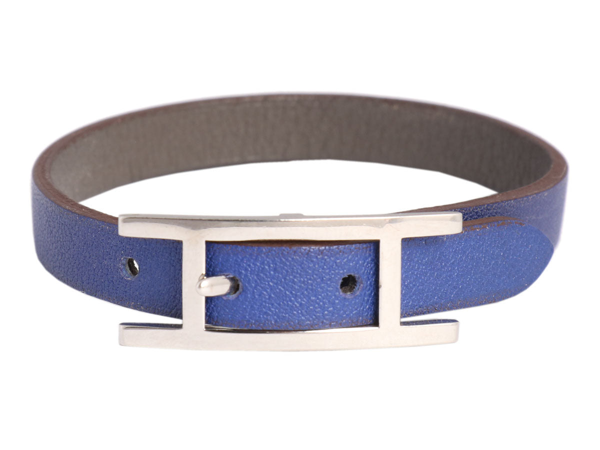 Hermès Bleu Saphir and Graphite Swift Behapi Simple Tour Bracelet