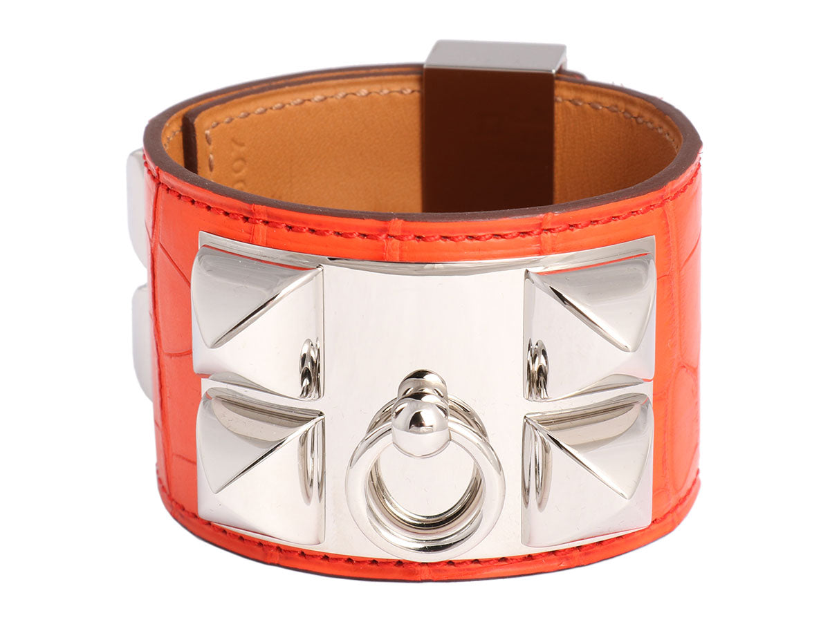 Hermès Orange Poppy Matte Alligator Collier de Chien CDC Bracelet