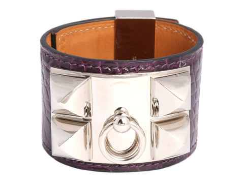 Hermès Amethyst Shiny Alligator Collier de Chien CDC Bracelet