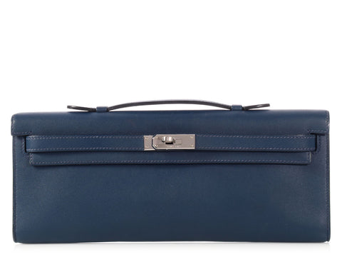 Hermès Bleu de Malte Swift Kelly Clutch Pochette