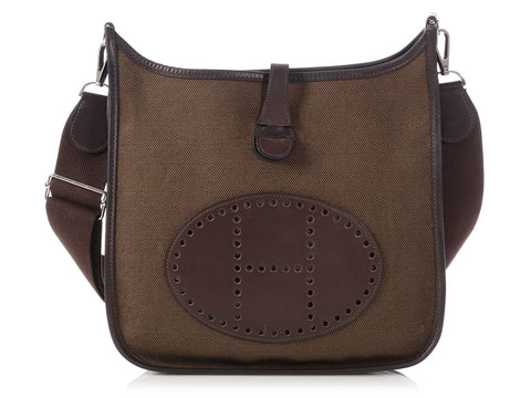 Hermès Brown Barenia and Olive Canvas Evelyne PM