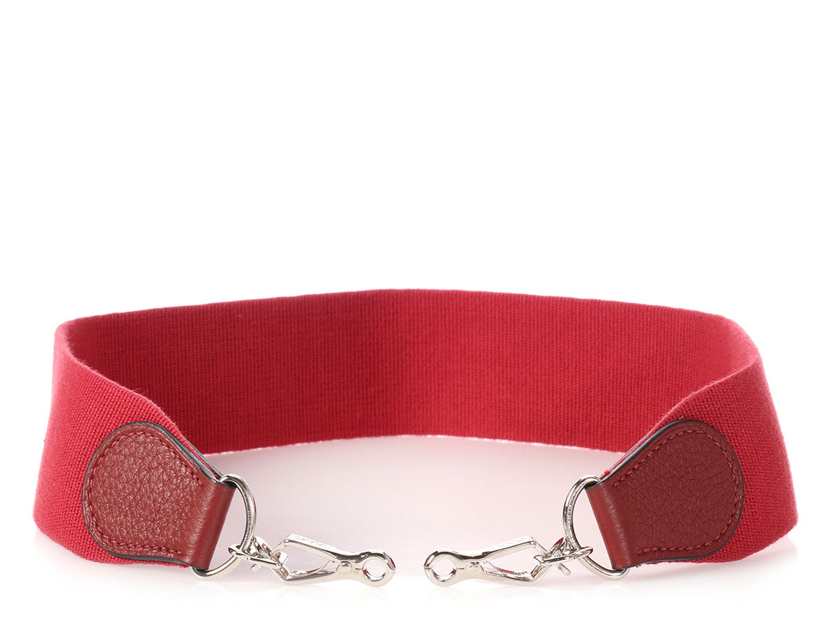 Hermès Rouge Garance Canvas Shoulder Strap