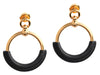 Hermès Black Swift and Gold Tone Loop Earrings