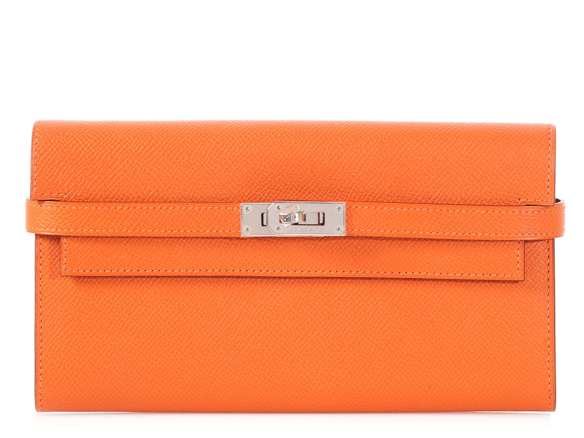 Hermès Orange Epsom Kelly Longue Wallet