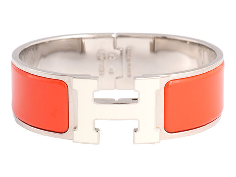 Hermès Wide Orange and White H Clic-Clac Bracelet