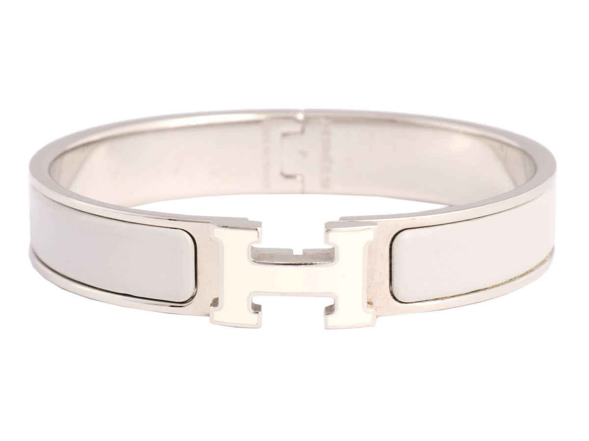 Hermès Narrow Gray and White H Clic-Clac Bracelet
