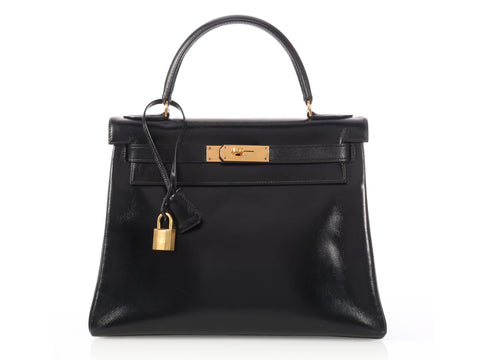 Hermès Vintage Black Box Kelly 28