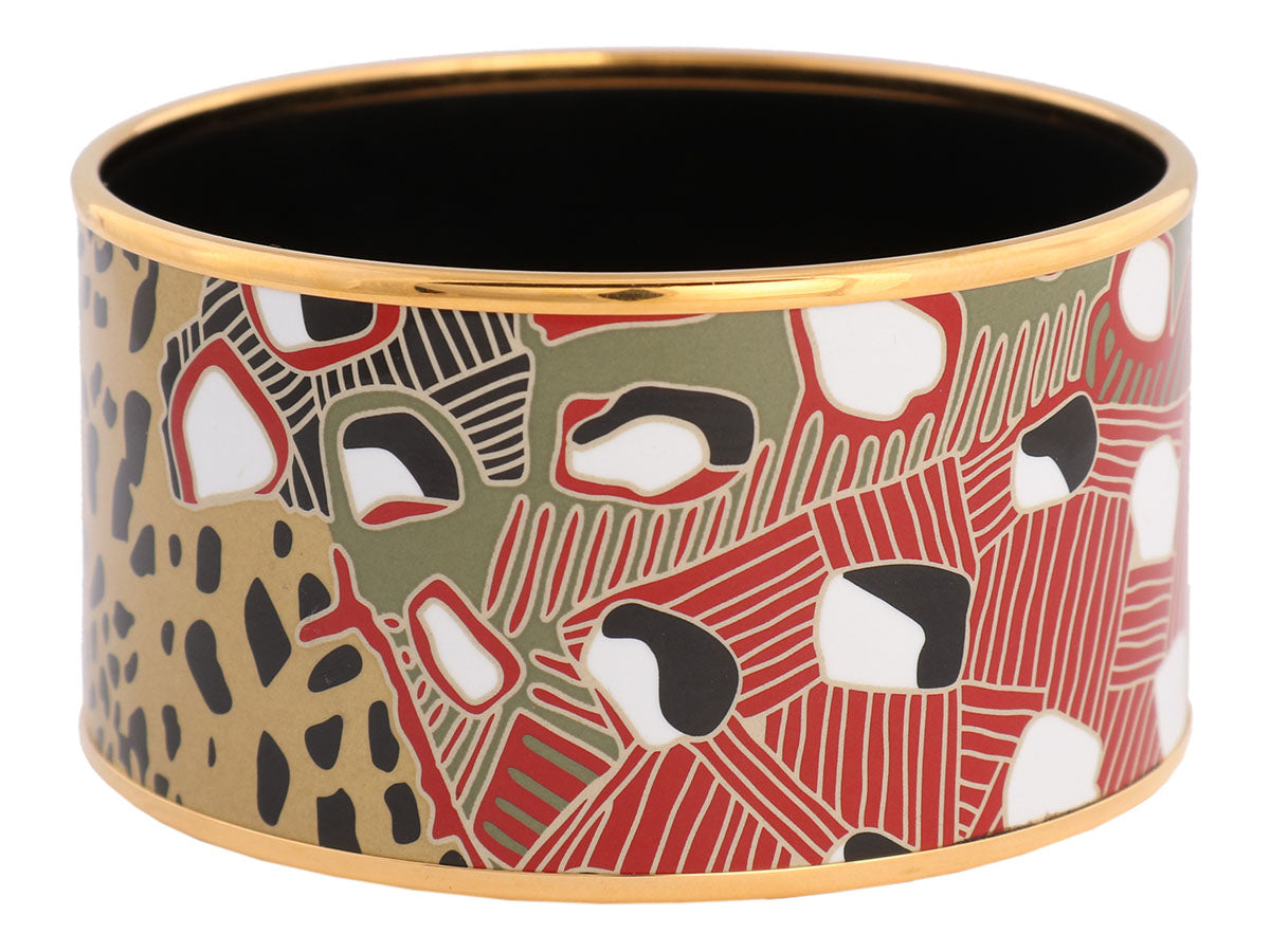 Hermès Extra Wide Grand Fonds Enamel Bangle PM