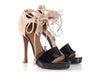 Hermès Patent and Suede Lace Up Sandals