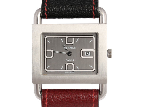 Hermès Stainless and Two-Tone Chèvre Leather Ladies Watch