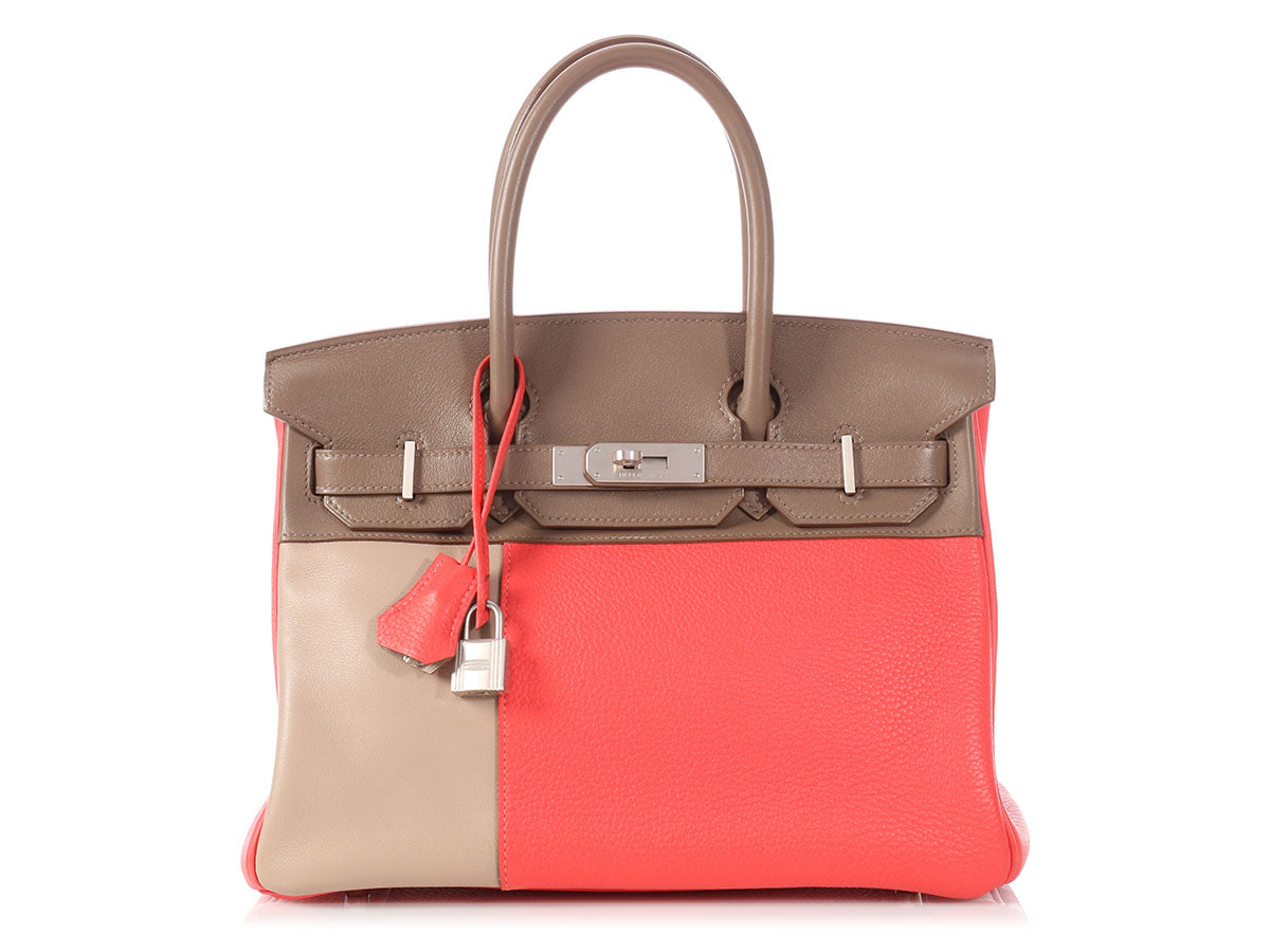 Hermès Tricolor Rose Jaipur, Etain, and Argyle Birkin 30