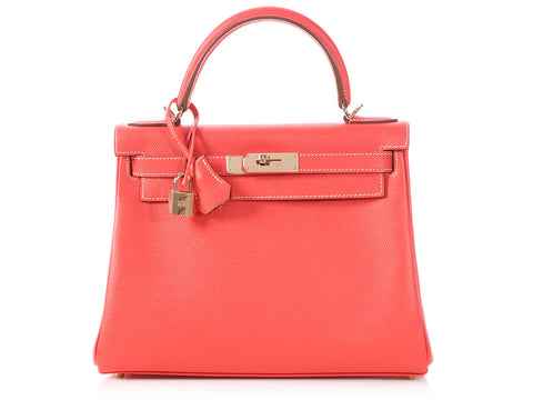 Hermès Two-Tone Rose Jaipur and Gold Epsom Kelly 28