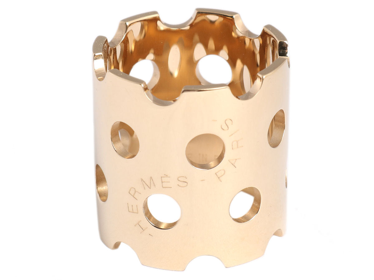 Hermès Gold Perforated Scarf Ring