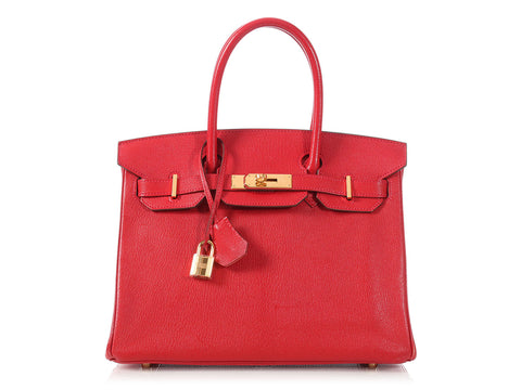 Hermès Rouge Casaque and Flamingo Birkin 30