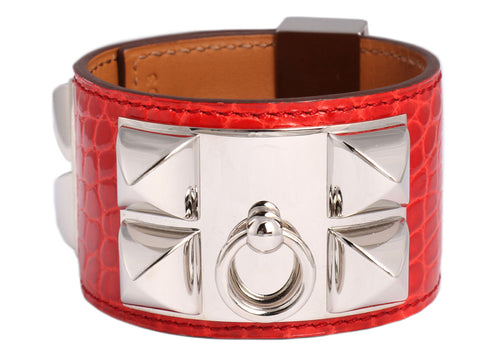 Hermès Geranium Shiny Alligator Collier de Chien CDC Bracelet