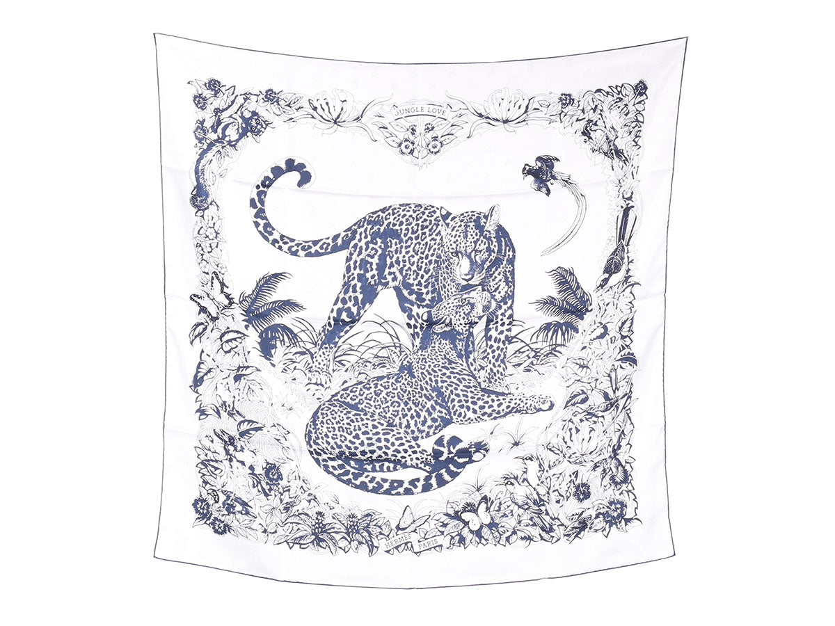 Hermès Tatouage Jungle Love Jacquard Silk Scarf 90cm