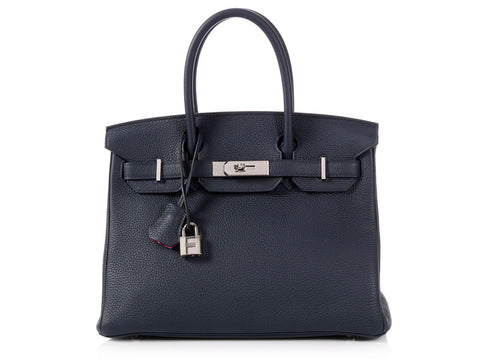 Hermès Blue Minuit and Rose Pourpre Clémence Verso Birkin 30