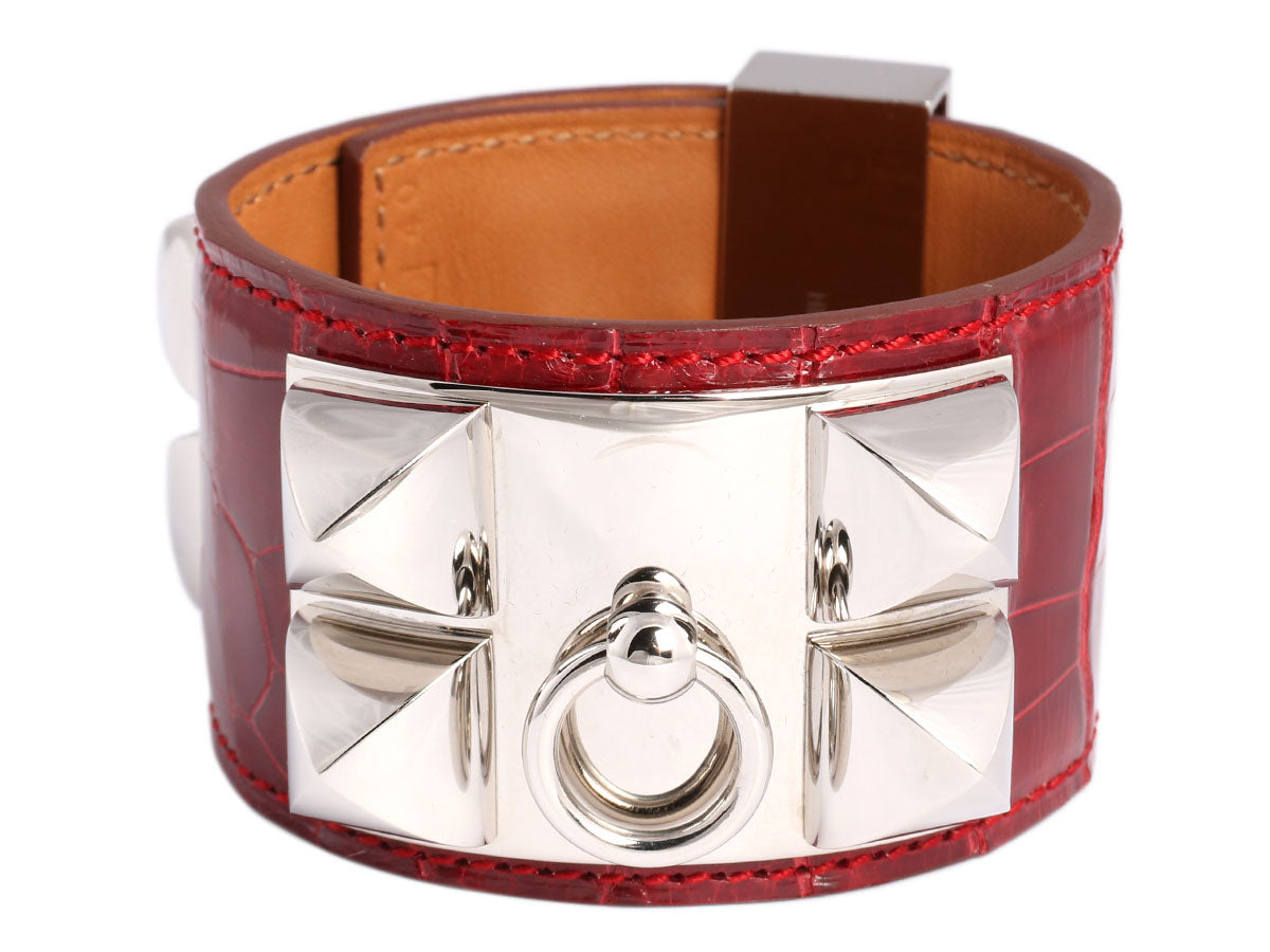 Hermès Rouge Vif Shiny Alligator Collier de Chien CDC Bracelet