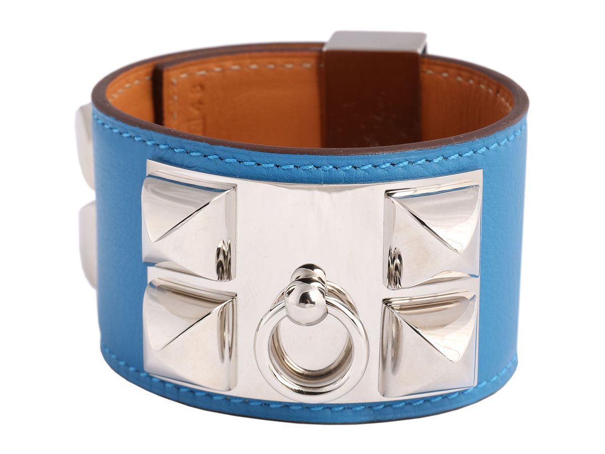 Hermès Mykonos Blue Swift Collier de Chien CDC Bracelet