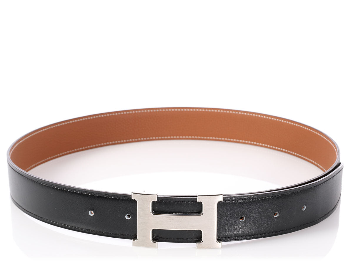 Hermès Black and Gold Reversible Belt Kit 32cm