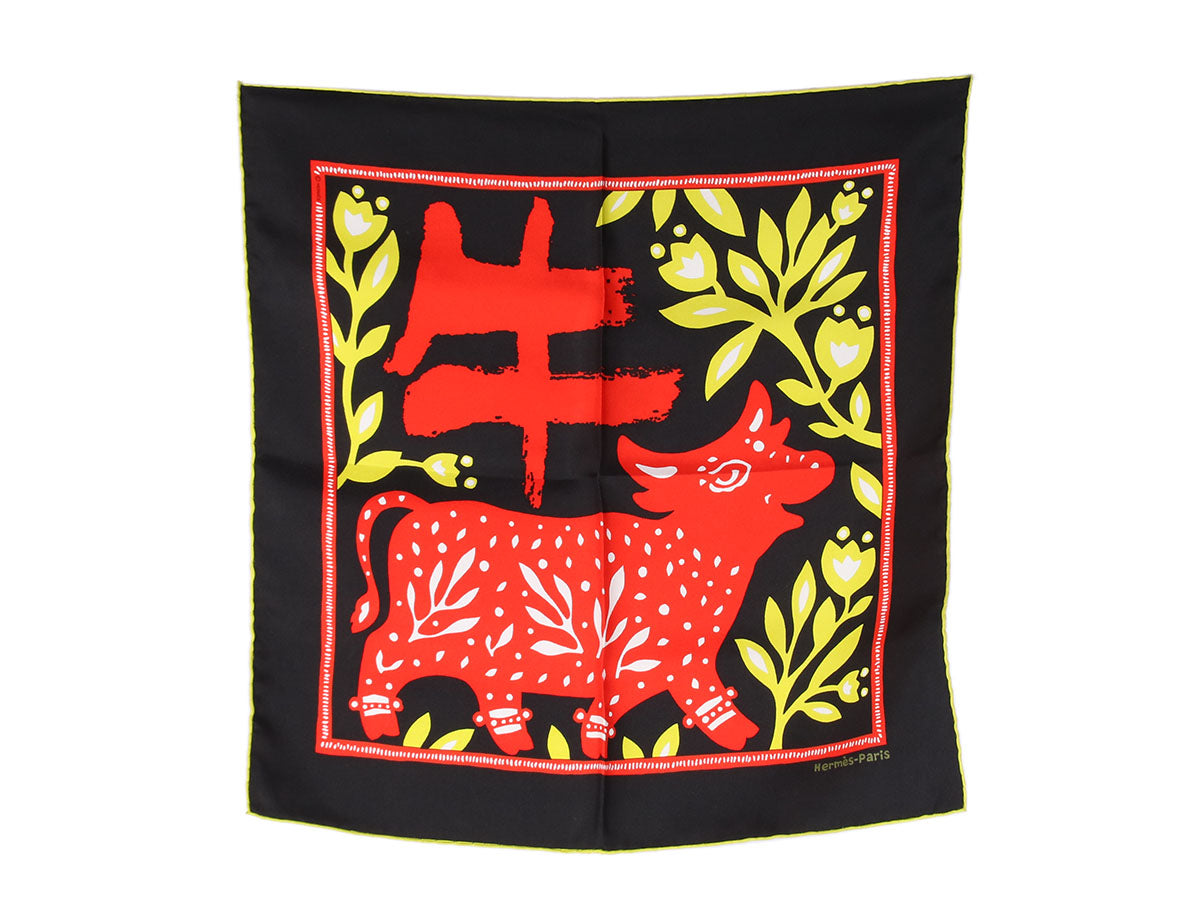 Hermès Happy Bovine Silk Pocket Square 45cm
