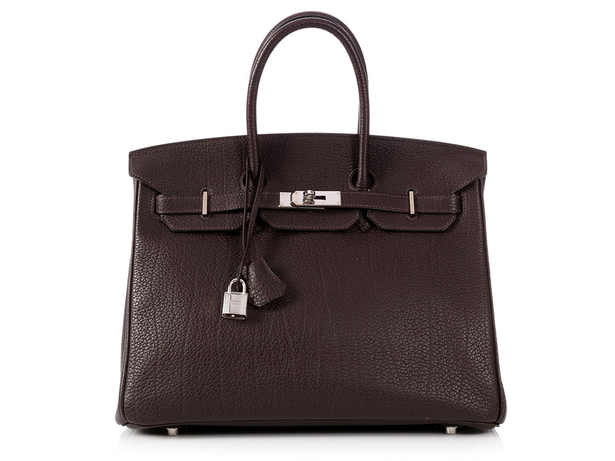 Hermès Chocolate Brown Fjord Birkin 35