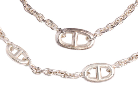 Hermès Long Sterling Silver Farandole Necklace 46