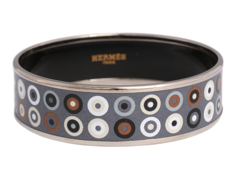 Hermès Wide Gray and Black Dancing Circles Enamel Bangle