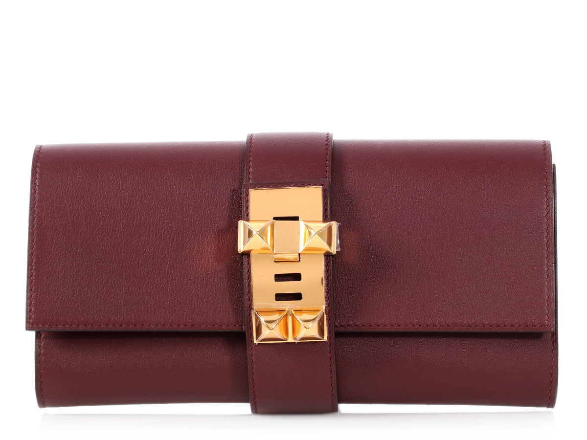 Hermès Bordeaux Swift Médor Clutch 23