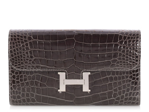Hermès Graphite Shiny Alligator Constance Wallet